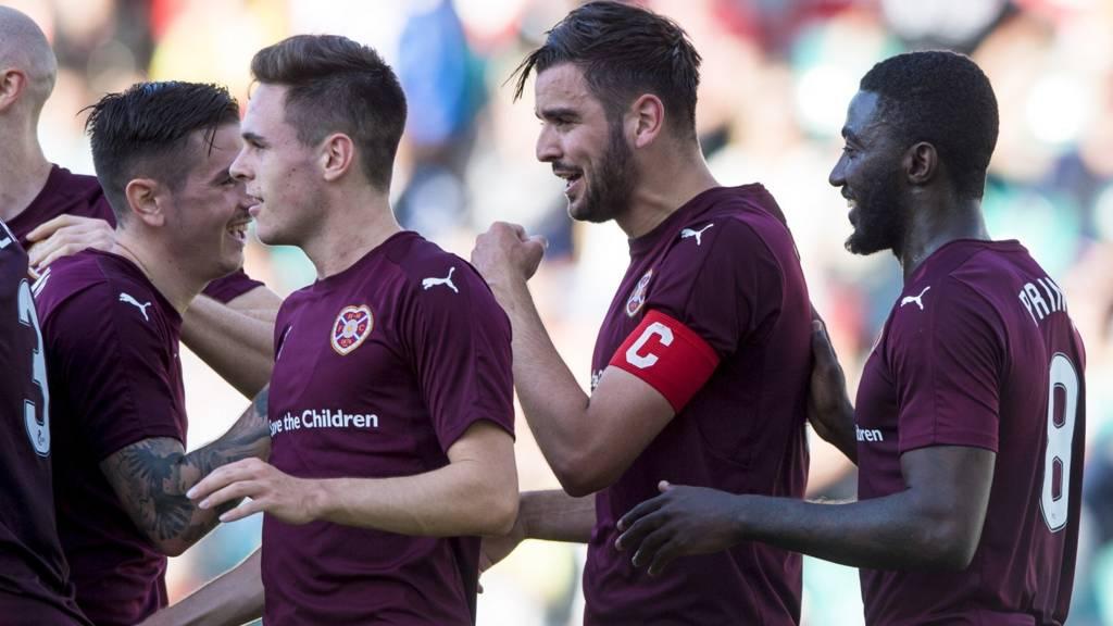 Hearts celebrate Alim Ozturk's goal