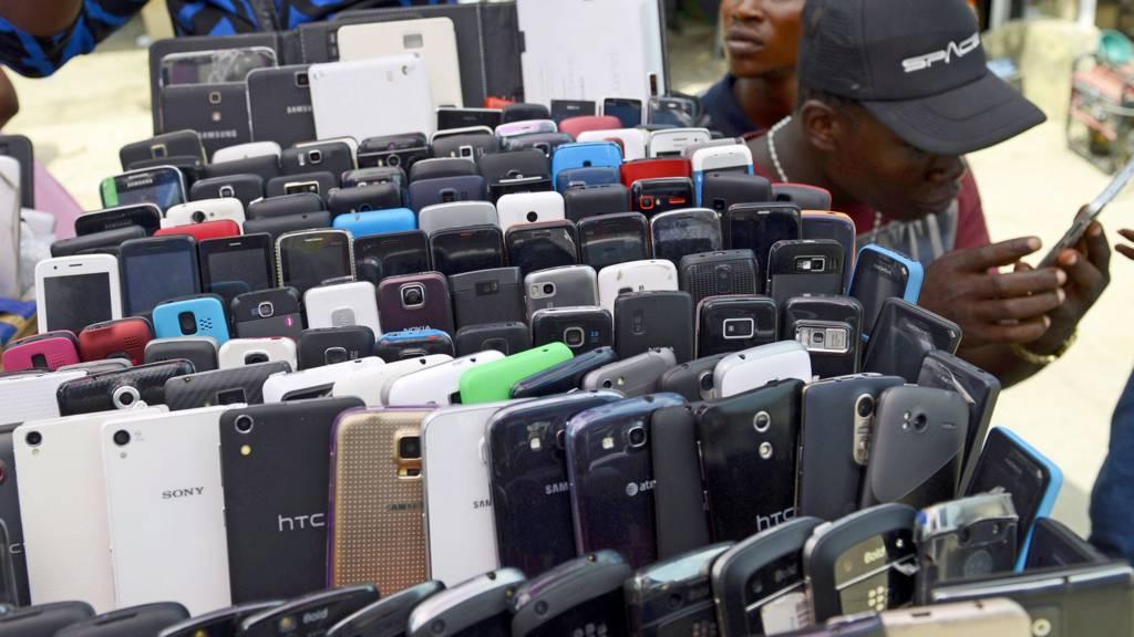 A mobile phone vendor in Nigeria