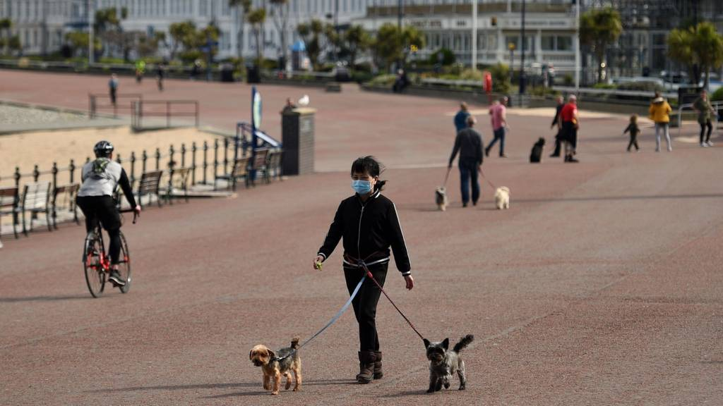 Dog walkers on Llandudno seafront amid the coronavirus pandemic