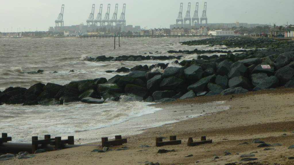 Felixstowe Docks from the beach