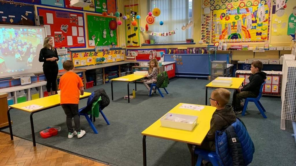 Pupils at Ysgol Gwaun Gynfi, Deiniolen