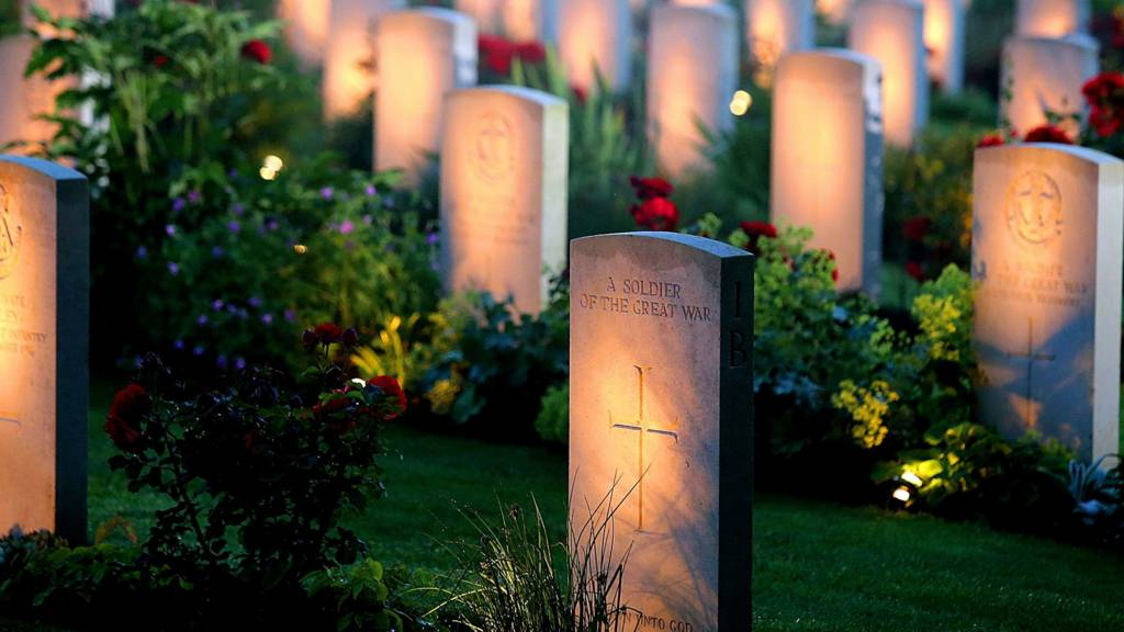 Candlelit graves at Thiepval