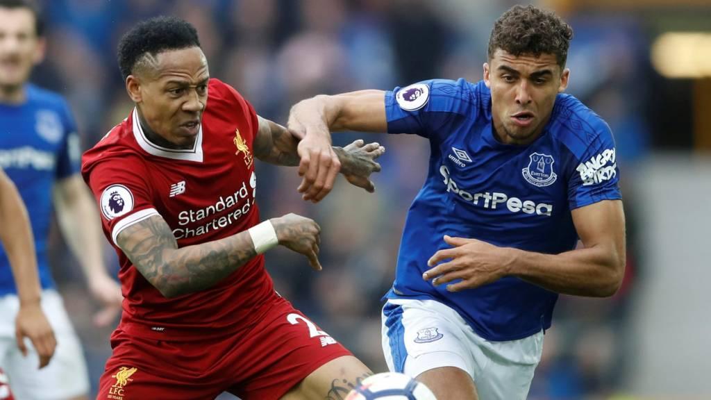 "Everton""s Dominic Calvert-Lewin and Liverpool""s Nathaniel Clyne"