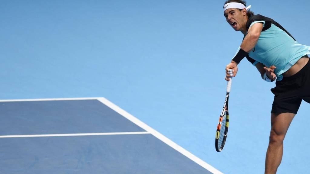 Rafael Nadal hits a shot
