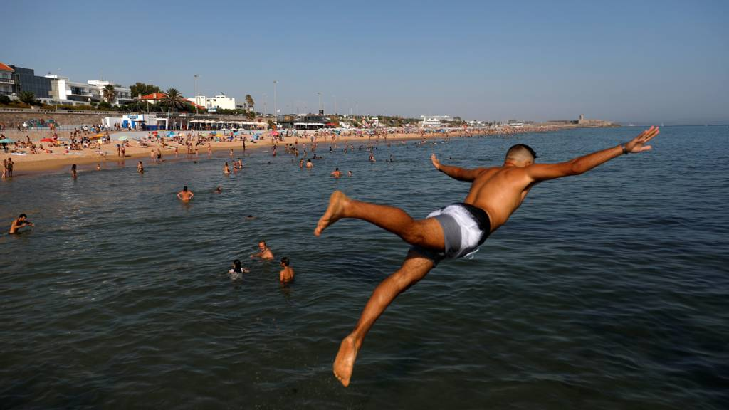 A man dives into the sea on holiday