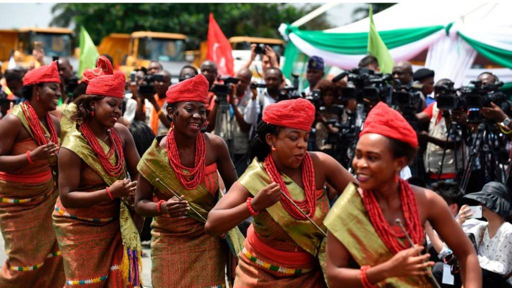A cultural troupe performs during the ground breaking for the construction of the Lagos-Ibadan rail line project at the Ebute-Metta headquarters of the Nigerian Railway Corporation in Lagos on March 7, 2017.