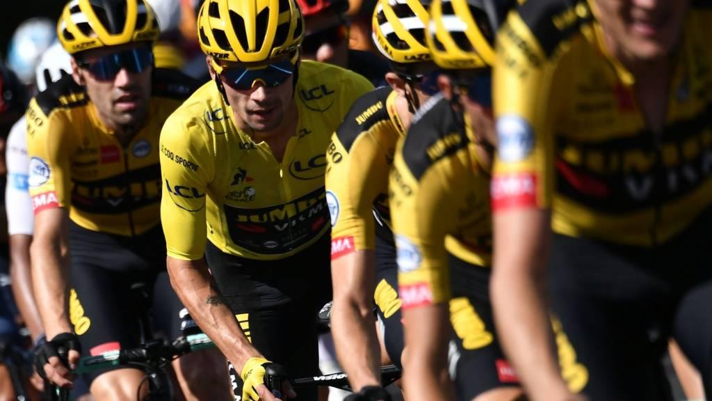 Primoz Roglic in the yellow jersey