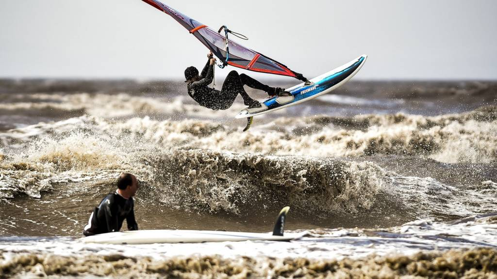 Windsurfers in the water at Weston-super-Mare