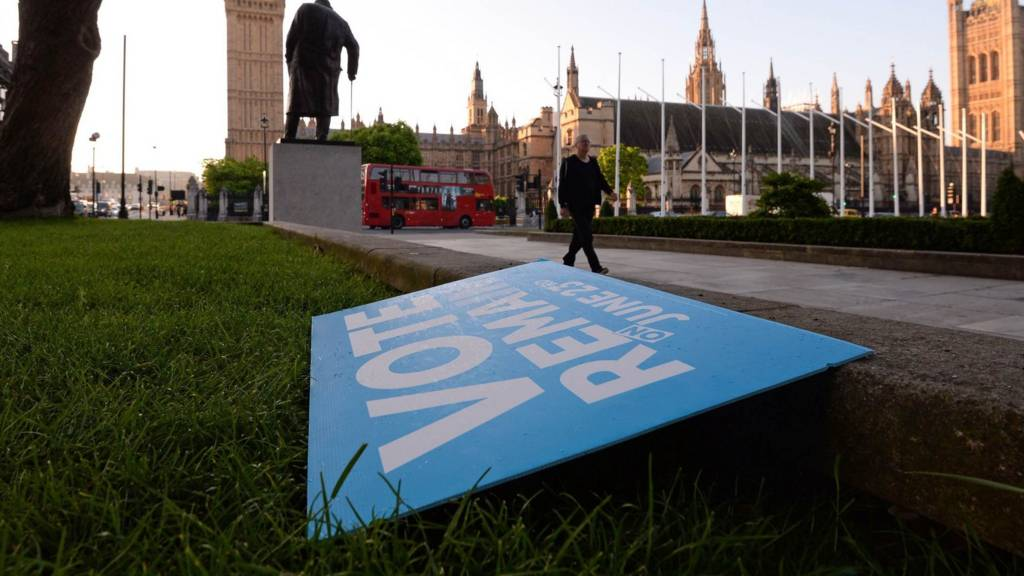 Remain placard discarded in Parliament Square
