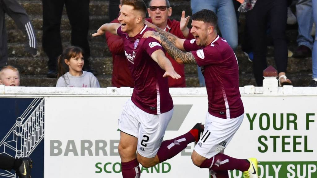 Arbroath's Jason Thomson celebrates with Bobby Linn