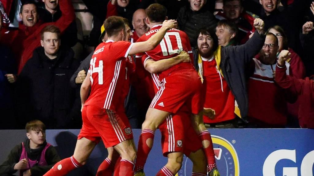 Wales' Ben Woodburn celebrates