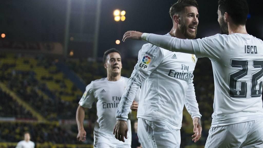 Sergio Ramos celebrates scoring for Real Madrid