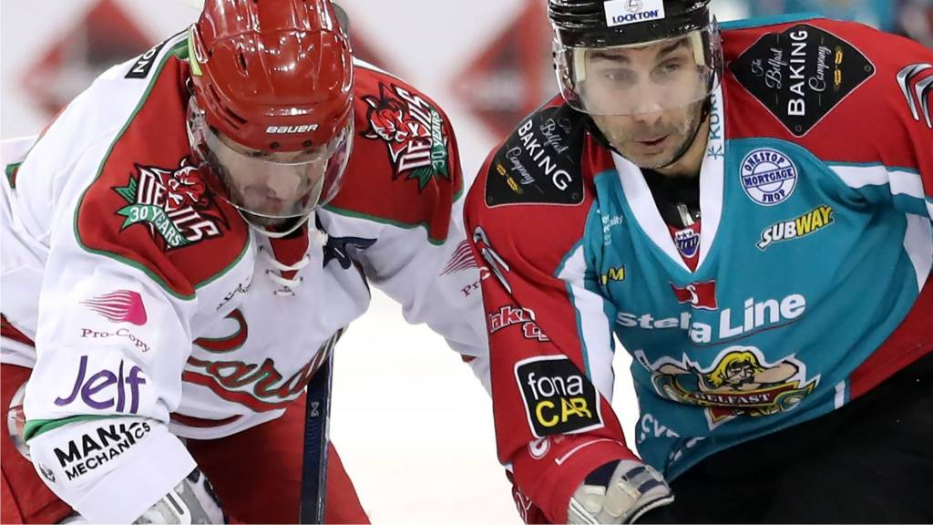 Action from Belfast Giants against Cardiff Devils