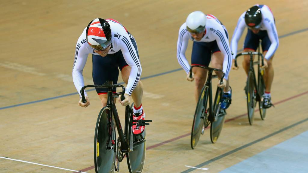 Philip Hindes, Jason Kenny and Callum Critchon Skinner in action