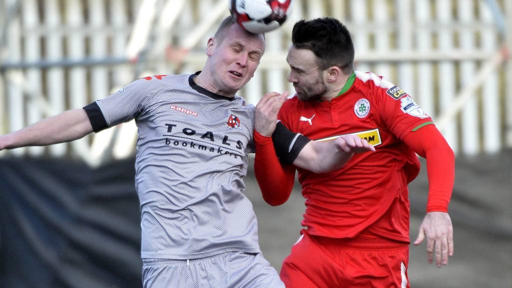 Action from Cliftonville against Crusaders