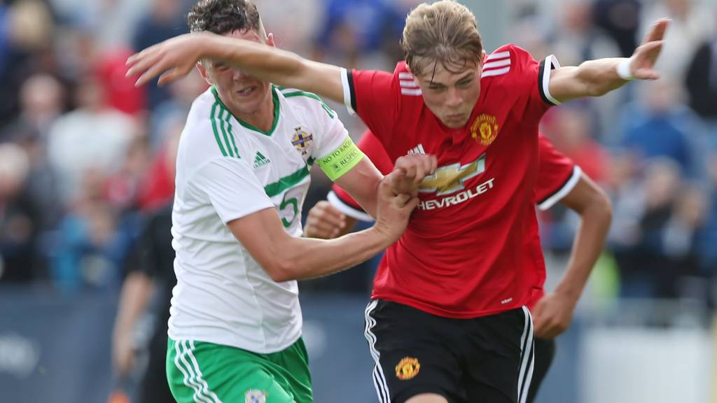 Manchester United in action against Northern Ireland at the 2017 Super Cup NI