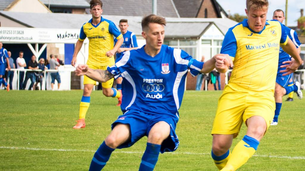Ashton Athletic in action against Squires Gate FC
