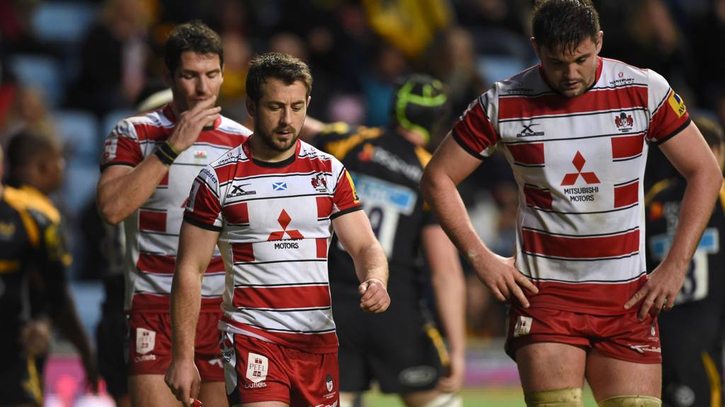 James Hook, Greig Laidlaw and Elliott Stooke look dejcted