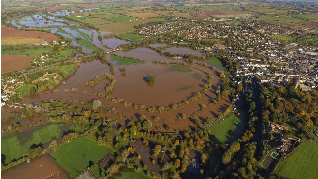 Images show entire UK towns flooded after heavy rain over the weekend