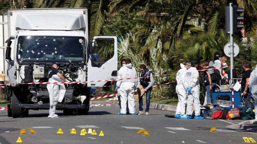 A lorry riddled with bullets after an attack in Nice, France