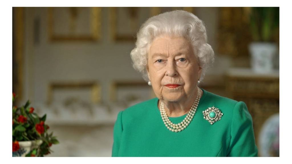Britain's Queen Elizabeth II records her address to the UK and the Commonwealth