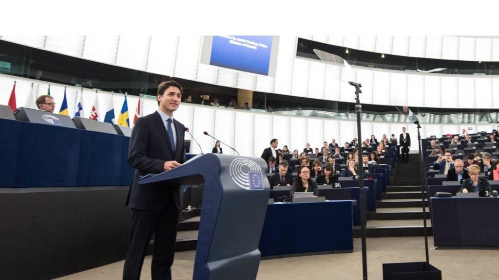 Justin Trudeau speaks in the European Parliament