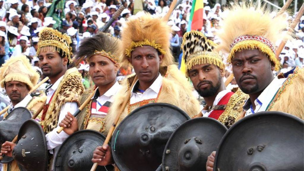 Men came from central Oromia, the area that surrounds the capital, with their shields and spears.