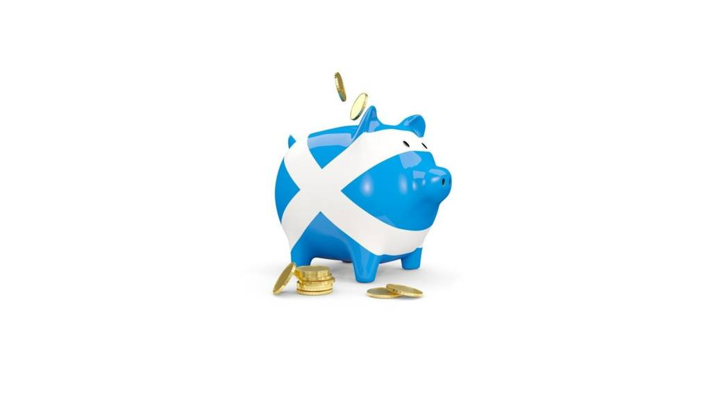 piggy bank covered in saltire