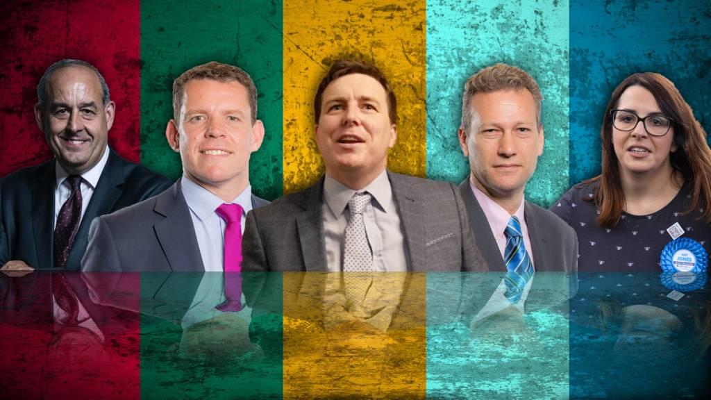 Steffan John - Lib Dems, David Hanson - Labour, Fay Jones – Conservatives, Rhun ap Iorwerth – Plaid Cymru, Nathan Gill – Brexit Party