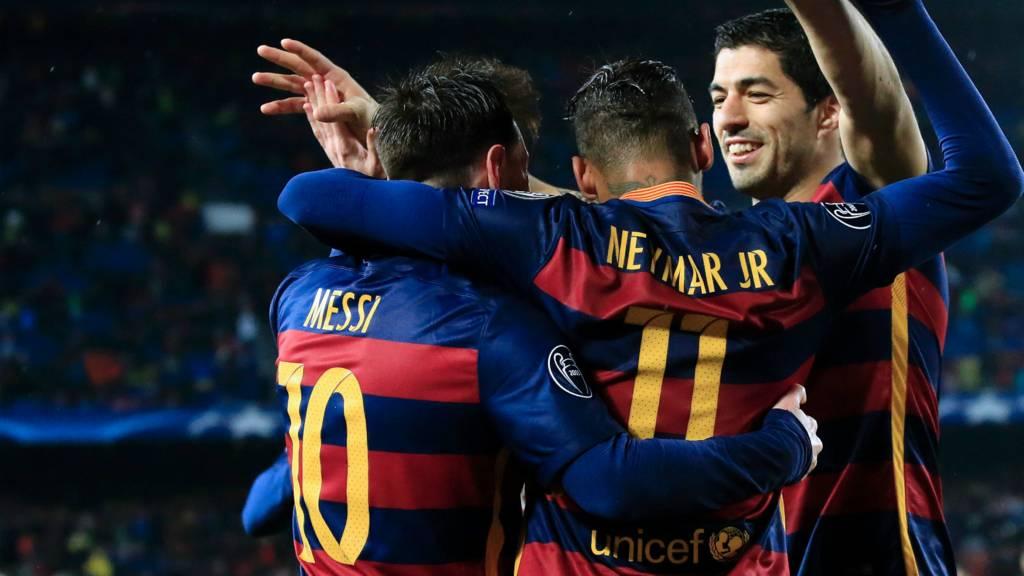 Lionel Messi, Neymar and Luis Suarez celebrate