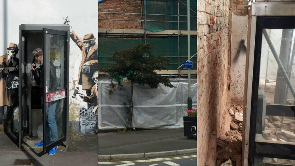 The site of the Banksy mural in Cheltenham