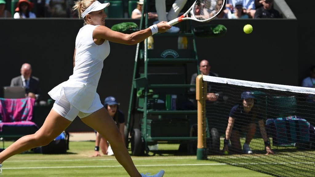 Elena Vesnina plays a shot