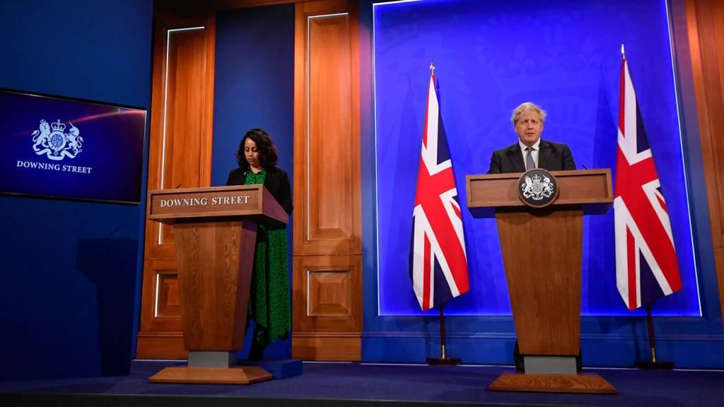 Prime Minister Boris Johnson holds a Covid-19 Press Conference on 20 April