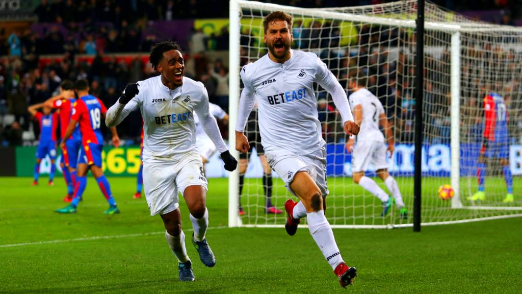 Fernando Llorente celebrates scoring for Swansea