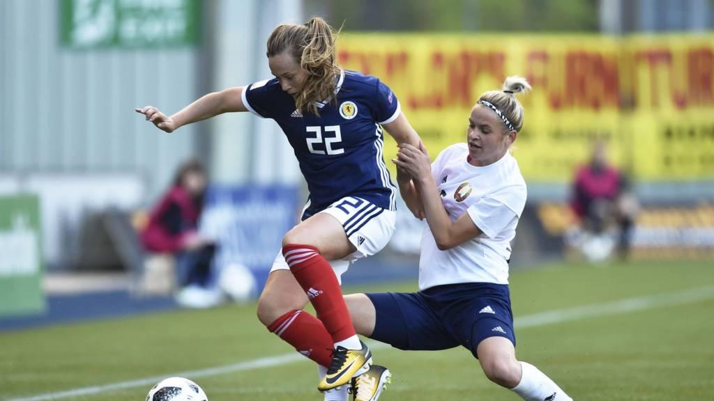 Erin Cuthbert in action for Scotland against Belarus