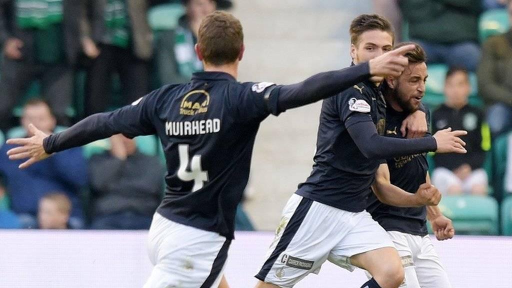 Falkirk celebrate Lee Miller's goal