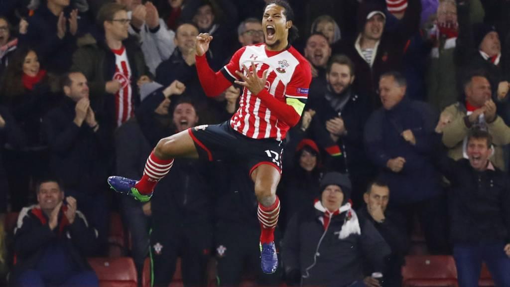Van Dijk celebrates after scoring
