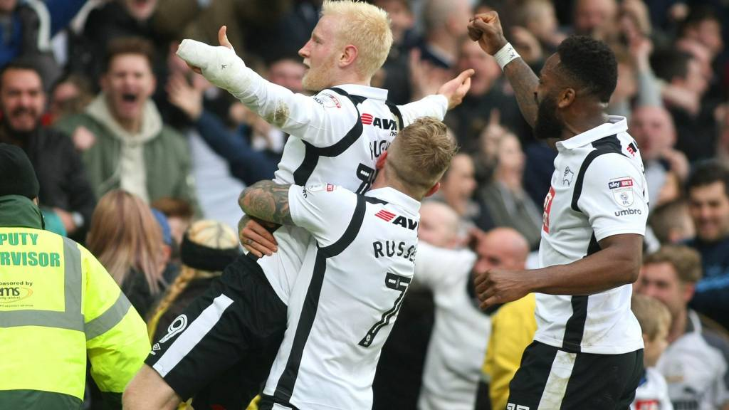 Derby's Will Hughes celebrates goal against Nottingham Forest