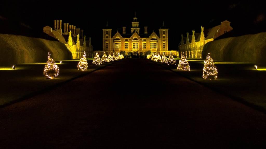 Blickling Hall in Christmas lights