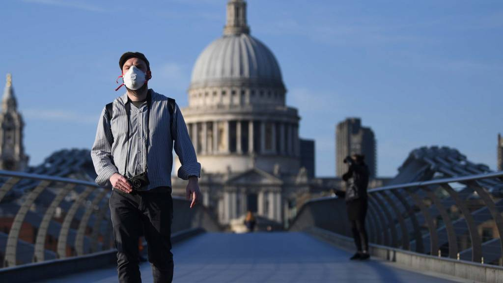 Man with a mask on Millennium Bridge