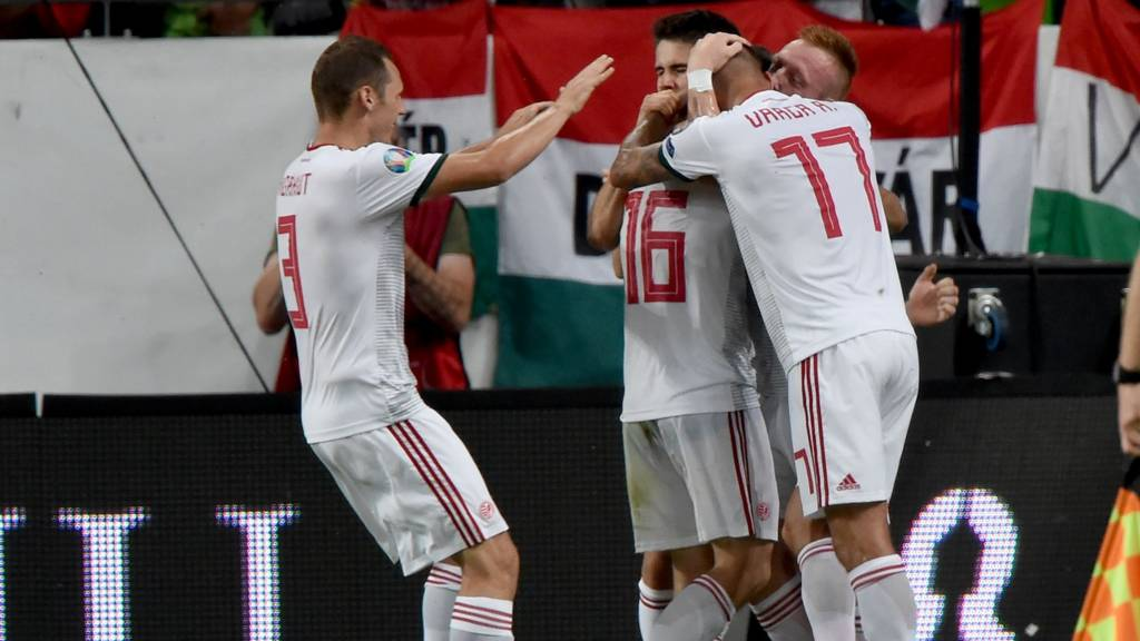 Hungary players celebrate