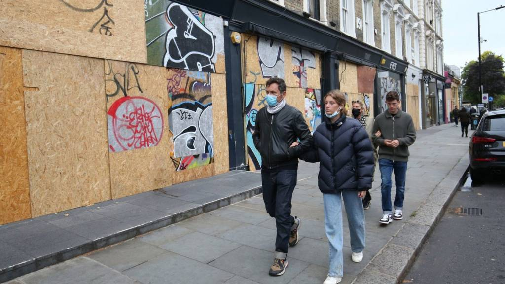 People wearing masks in Notting Hill