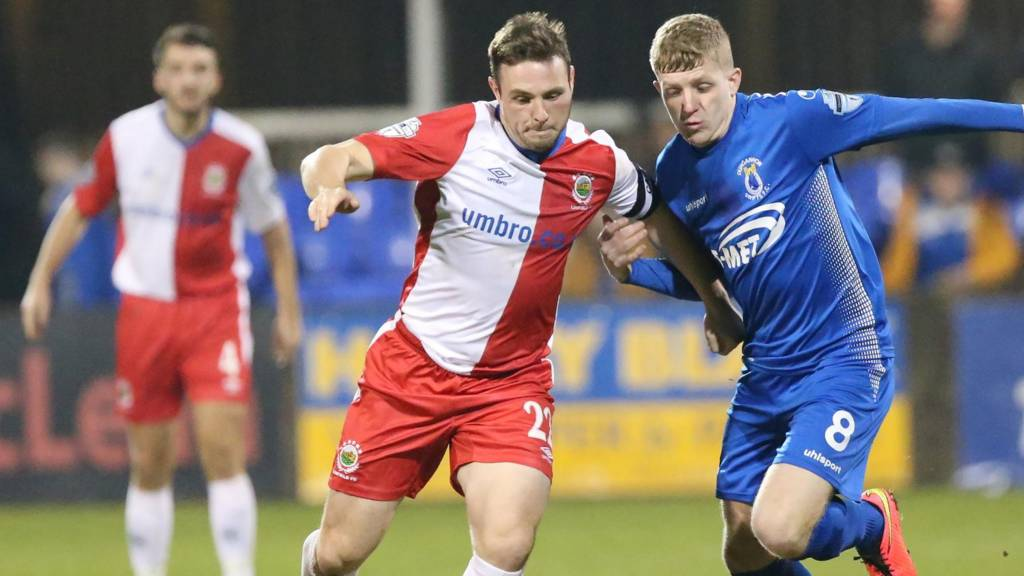 Action from Dungannon Swifts against Linfield