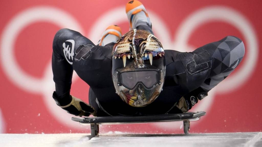 Akwasi Frimpong of Ghana practices during Men's Skeleton training ahead of the PyeongChang 2018 Winter Olympic Games at the Olympic Sliding Centre on February 7, 2018 in Pyeongchang-gun, South Korea