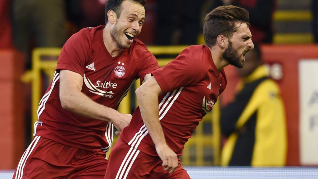 Aberdeen's Andrew Considine and Graeme Shinnie celebrate