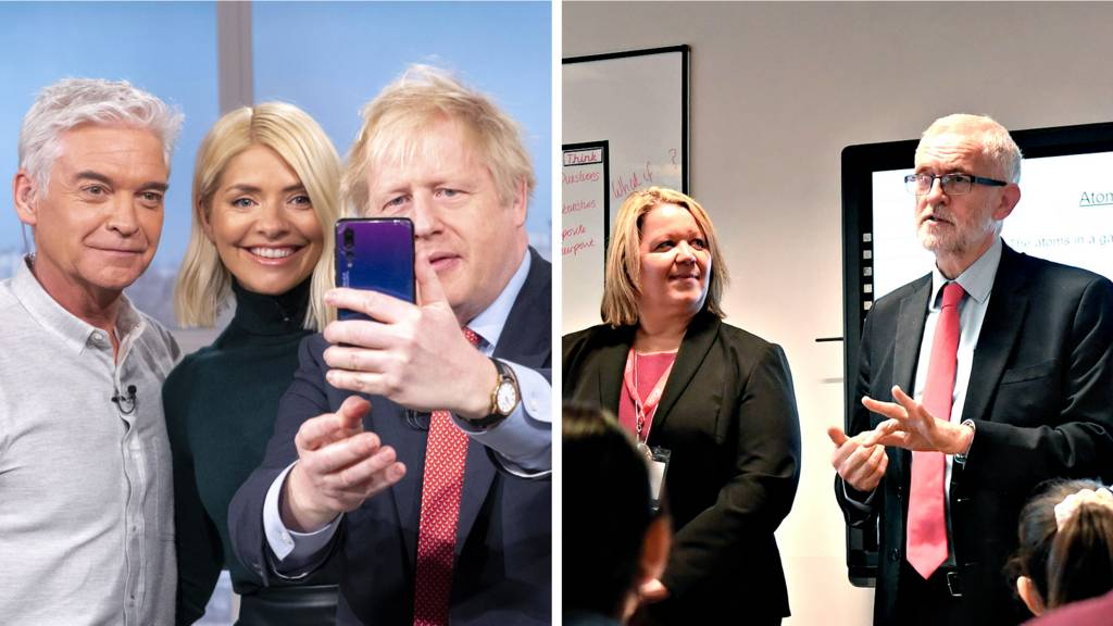 Boris Johnson on This Morning and Jeremy Corbyn in Peterborough