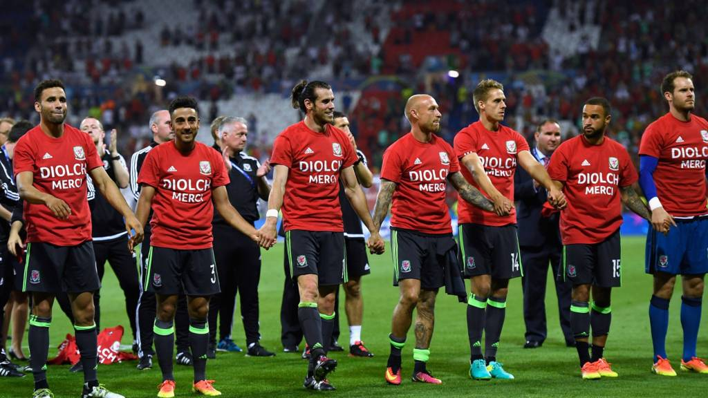 Wales team after Portugal game