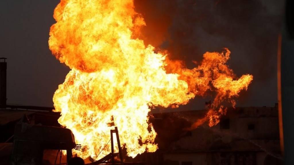 حريق في مصنع في الخرطوم