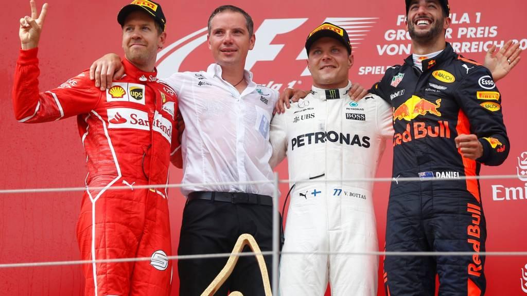 The podium in Austria
