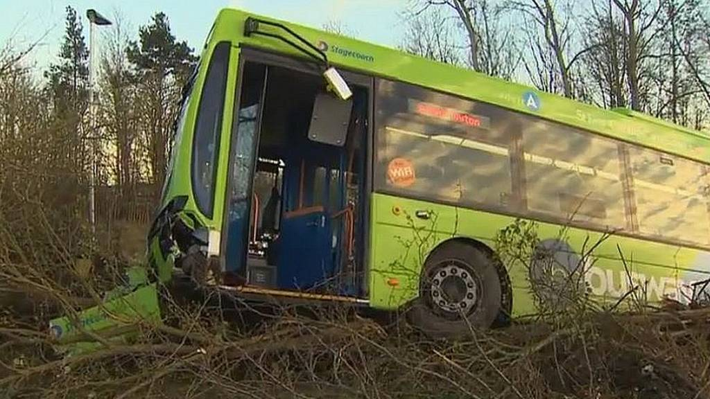 Guided bus crash